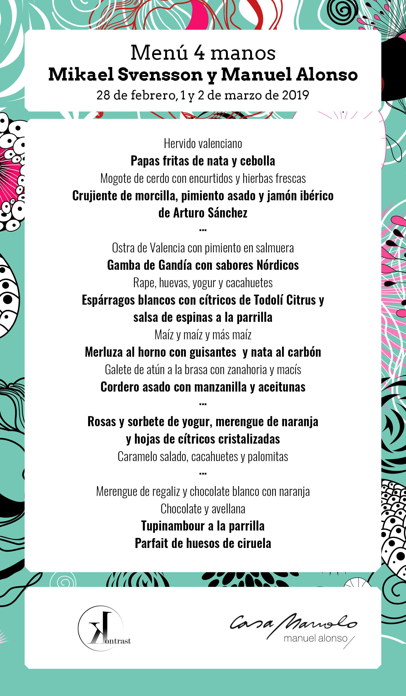 redes Minuta valencia culinary festival. Menú 4 manos
